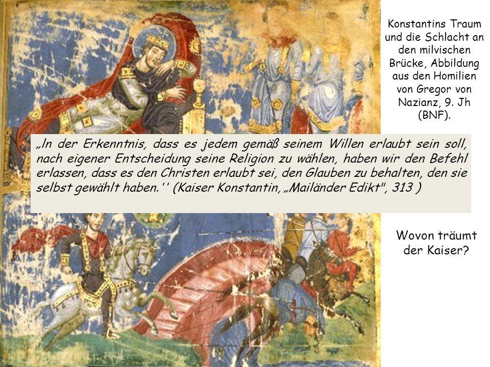 Konstantins Traum und die Schlacht an den milvischen Brücke, Abbildung aus den Homilien von Gregor von Nazianz, 9.