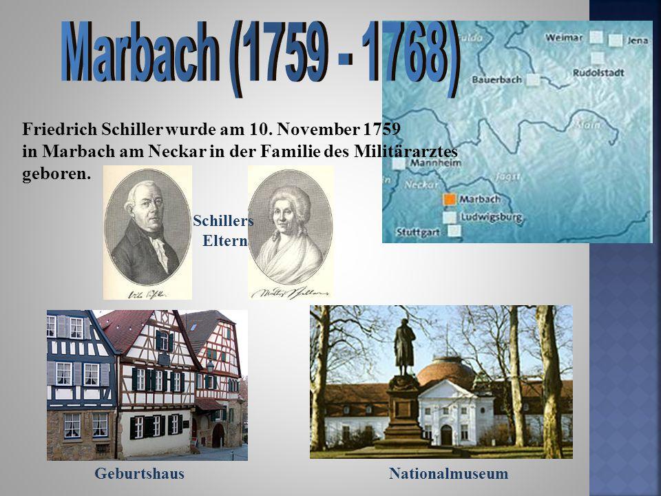 Geburtshaus Friedrich Schiller wurde am 10. November 1759 in Marbach am Neckar in der Familie des Militärarztes geboren. Nationalmuseum Schillers Elte