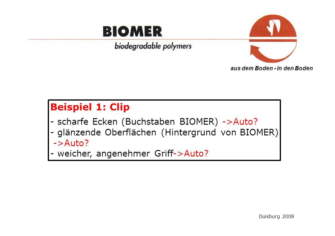 aus dem Boden - in den Boden Beispiel 1: Clip - scharfe Ecken (Buchstaben BIOMER) ->Auto.