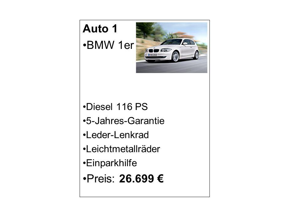 Auto 1 BMW 1er Diesel 116 PS 5-Jahres-Garantie Leder-Lenkrad Leichtmetallräder Einparkhilfe Preis: 26.699