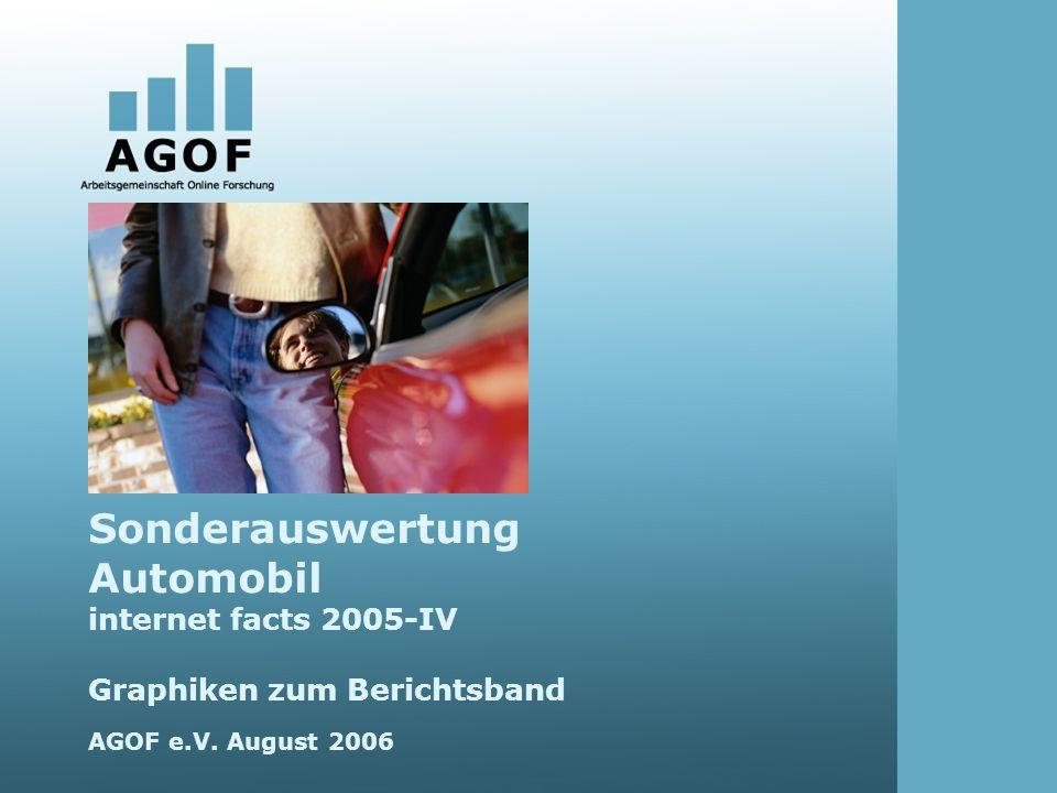 Sonderauswertung Automobil internet facts 2005-IV Graphiken zum Berichtsband AGOF e.V. August 2006