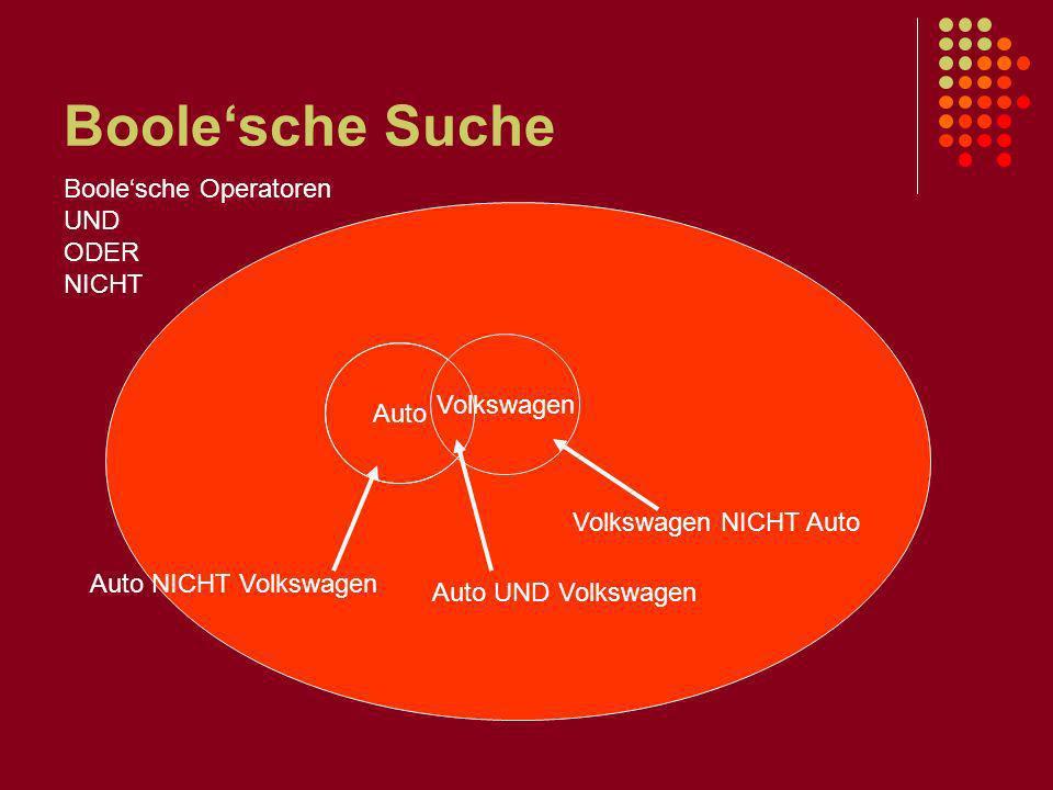 Boolesche Suche Auto Volkswagen Auto UND Volkswagen Volkswagen NICHT Auto Auto NICHT Volkswagen Boolesche Operatoren UND ODER NICHT