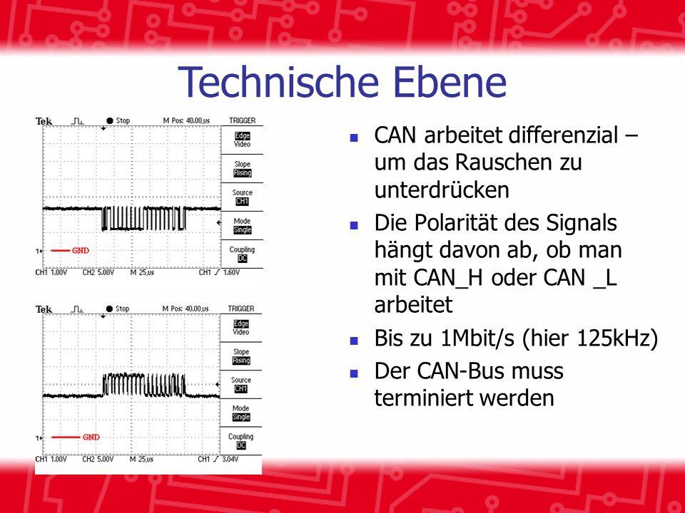 CAN arbeitet differenzial – um das Rauschen zu unterdrücken Die Polarität des Signals hängt davon ab, ob man mit CAN_H oder CAN _L arbeitet Bis zu 1Mbit/s (hier 125kHz) Der CAN-Bus muss terminiert werden Technische Ebene