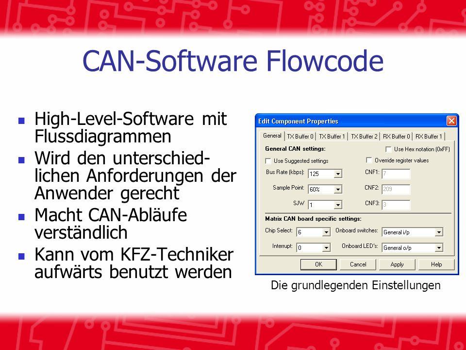 CAN-Software Flowcode High-Level-Software mit Flussdiagrammen Wird den unterschied- lichen Anforderungen der Anwender gerecht Macht CAN-Abläufe verständlich Kann vom KFZ-Techniker aufwärts benutzt werden Die grundlegenden Einstellungen