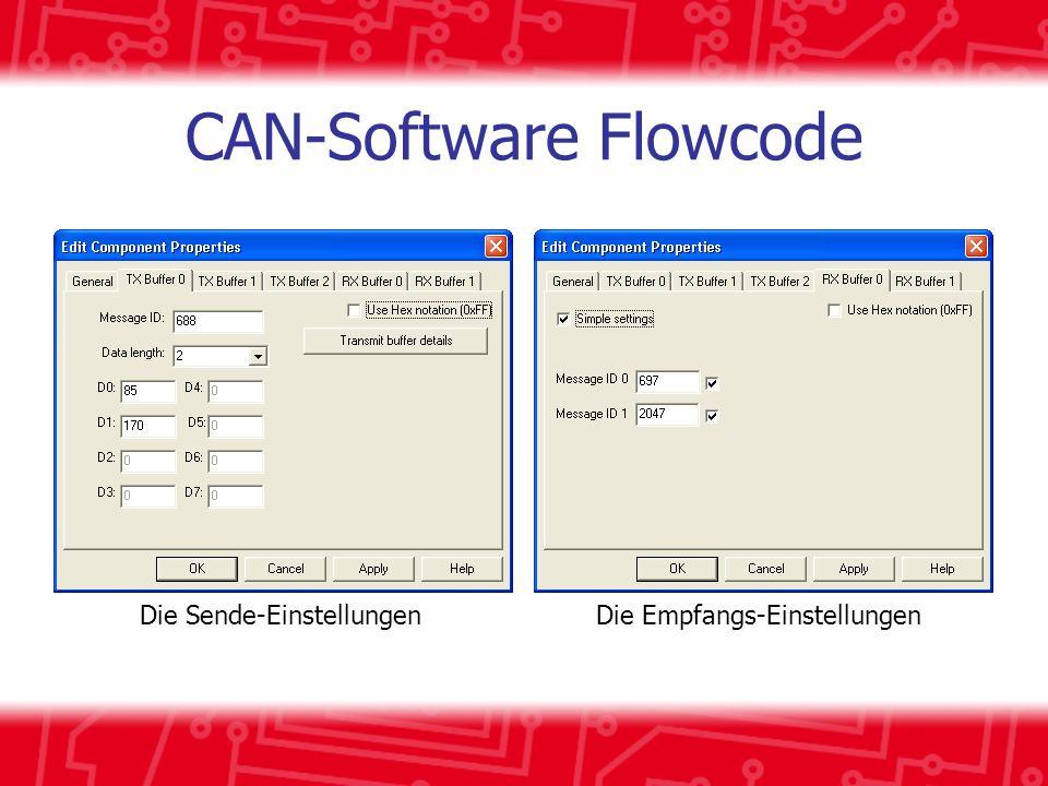 CAN-Software Flowcode Die Sende-EinstellungenDie Empfangs-Einstellungen