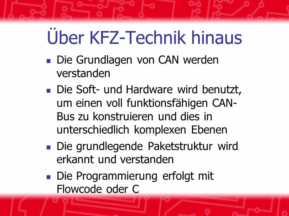 Über KFZ-Technik hinaus Die Grundlagen von CAN werden verstanden Die Soft- und Hardware wird benutzt, um einen voll funktionsfähigen CAN- Bus zu konstruieren und dies in unterschiedlich komplexen Ebenen Die grundlegende Paketstruktur wird erkannt und verstanden Die Programmierung erfolgt mit Flowcode oder C