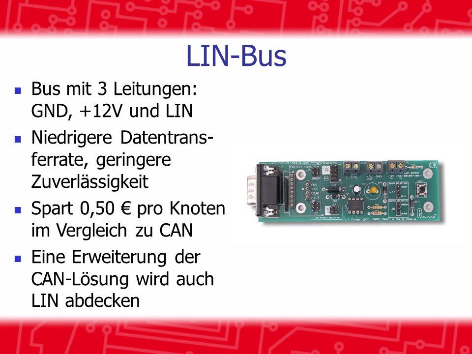 LIN-Bus Bus mit 3 Leitungen: GND, +12V und LIN Niedrigere Datentrans- ferrate, geringere Zuverlässigkeit Spart 0,50 pro Knoten im Vergleich zu CAN Eine Erweiterung der CAN-Lösung wird auch LIN abdecken
