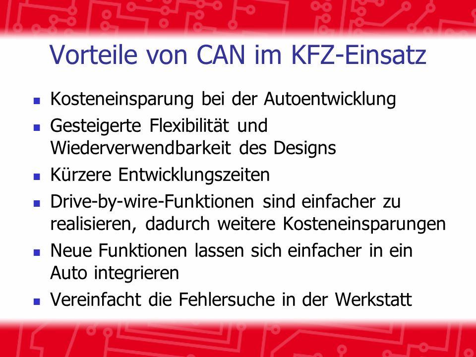 Vorteile von CAN im KFZ-Einsatz Kosteneinsparung bei der Autoentwicklung Gesteigerte Flexibilität und Wiederverwendbarkeit des Designs Kürzere Entwick