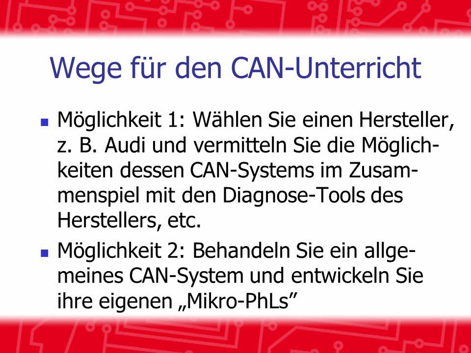 Wege für den CAN-Unterricht Möglichkeit 1: Wählen Sie einen Hersteller, z. B. Audi und vermitteln Sie die Möglich- keiten dessen CAN-Systems im Zusam-