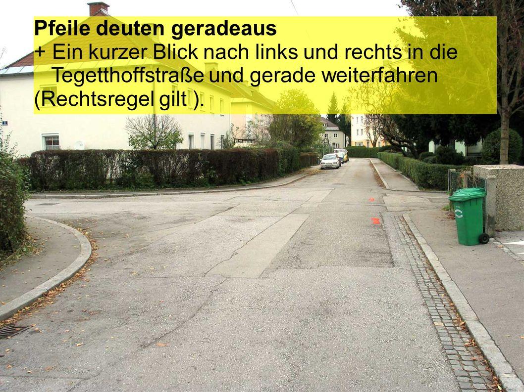 + Am rechten Fahrbahnrand fahren und auf Gegenverkehr achten. + Wenn ein Auto entgegen kommt – kurz am rechten Fahrbahnrand stehen bleiben, und wenn d