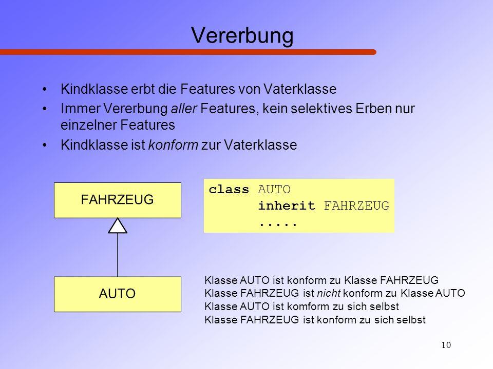 10 Klasse AUTO ist konform zu Klasse FAHRZEUG Klasse FAHRZEUG ist nicht konform zu Klasse AUTO Klasse AUTO ist komform zu sich selbst Klasse FAHRZEUG