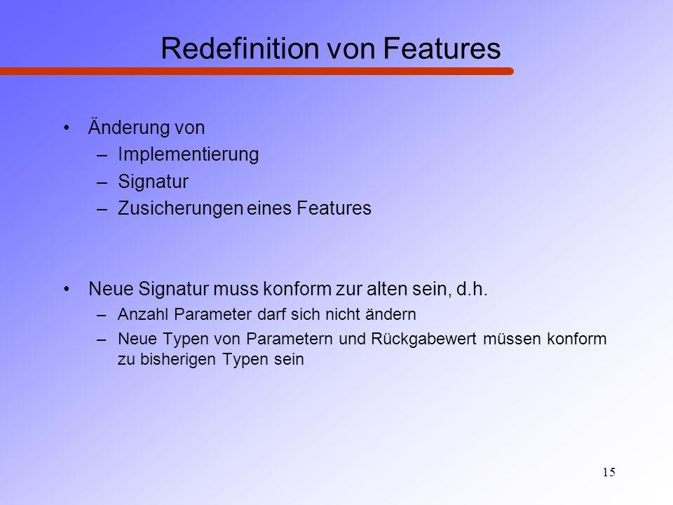 15 Redefinition von Features Änderung von –Implementierung –Signatur –Zusicherungen eines Features Neue Signatur muss konform zur alten sein, d.h. –An