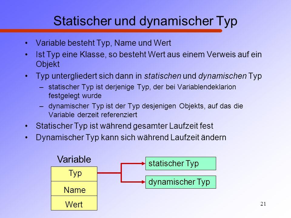 21 Statischer und dynamischer Typ Variable besteht Typ, Name und Wert Ist Typ eine Klasse, so besteht Wert aus einem Verweis auf ein Objekt Typ unterg