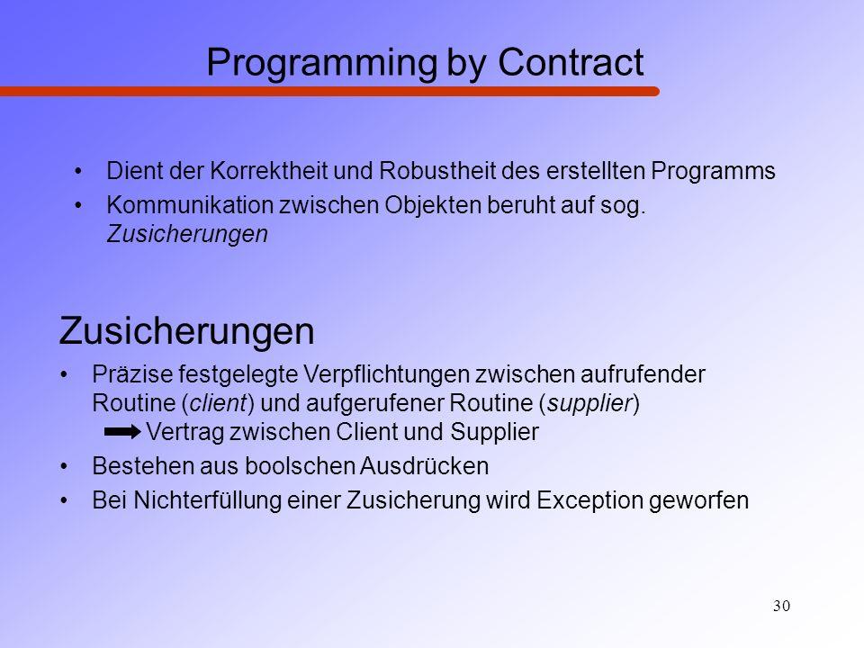 30 Programming by Contract Dient der Korrektheit und Robustheit des erstellten Programms Kommunikation zwischen Objekten beruht auf sog. Zusicherungen