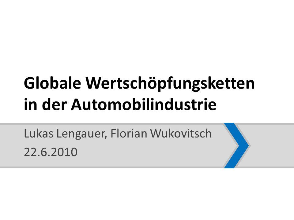Globale Wertschöpfungsketten in der Automobilindustrie Die 1990er und die 2000er Jahre 1990er Jahre – dynamische Nachfrage in den Schwellenländern, stagnierender Absatz in den Industriestaaten – Produktionsverlagerungen: v.a.