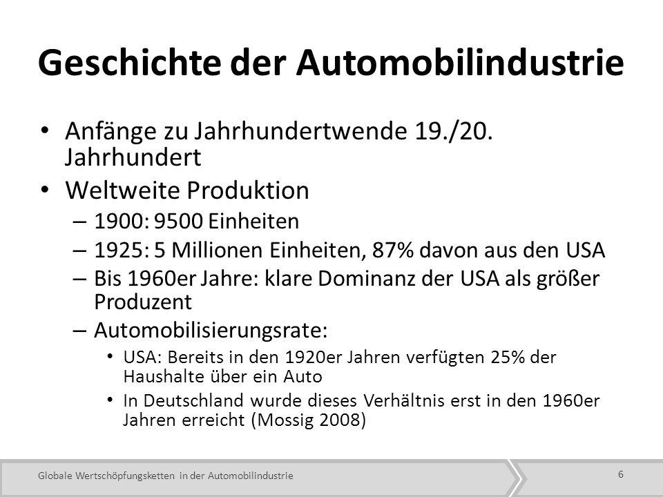 Globale Wertschöpfungsketten in der Automobilindustrie Geschichte der Automobilindustrie Anfänge zu Jahrhundertwende 19./20.