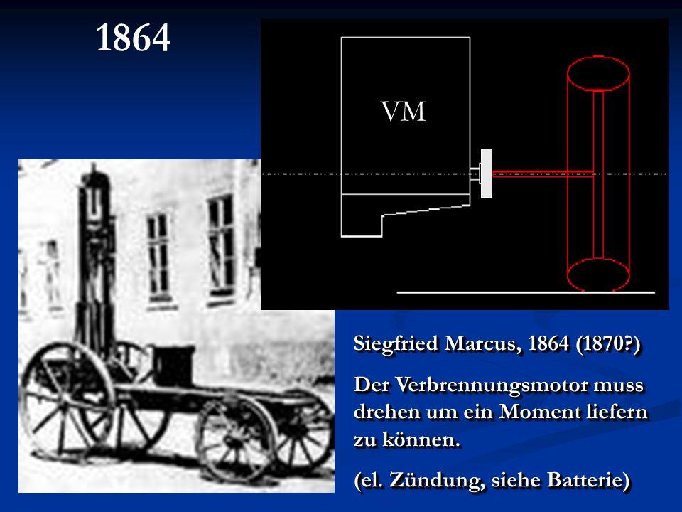 Siegfried Marcus, 1864 (1870?) Der Verbrennungsmotor muss drehen um ein Moment liefern zu können. (el. Zündung, siehe Batterie) Siegfried Marcus, 1864