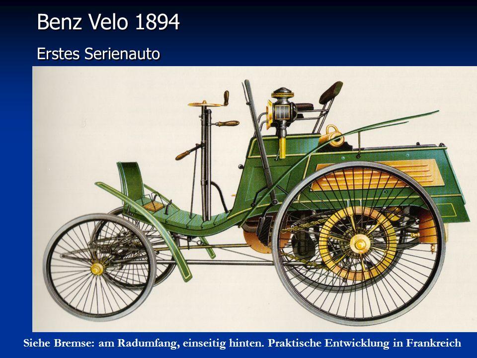 Benz Velo 1894 Erstes Serienauto Benz Velo 1894 Erstes Serienauto Siehe Bremse: am Radumfang, einseitig hinten. Praktische Entwicklung in Frankreich