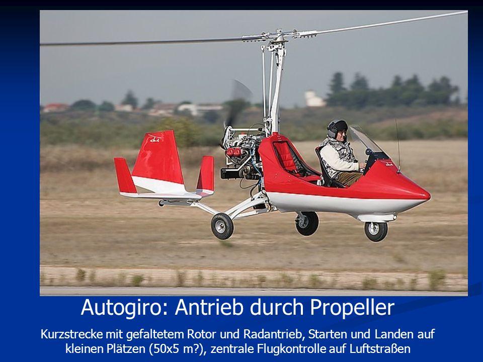 Autogiro: Antrieb durch Propeller Kurzstrecke mit gefaltetem Rotor und Radantrieb, Starten und Landen auf kleinen Plätzen (50x5 m?), zentrale Flugkont
