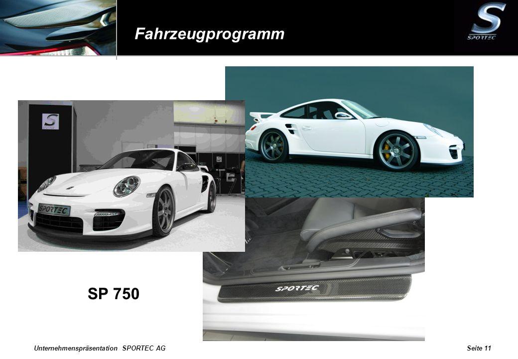 Unternehmenspräsentation SPORTEC AGSeite 11 Fahrzeugprogramm SP 750