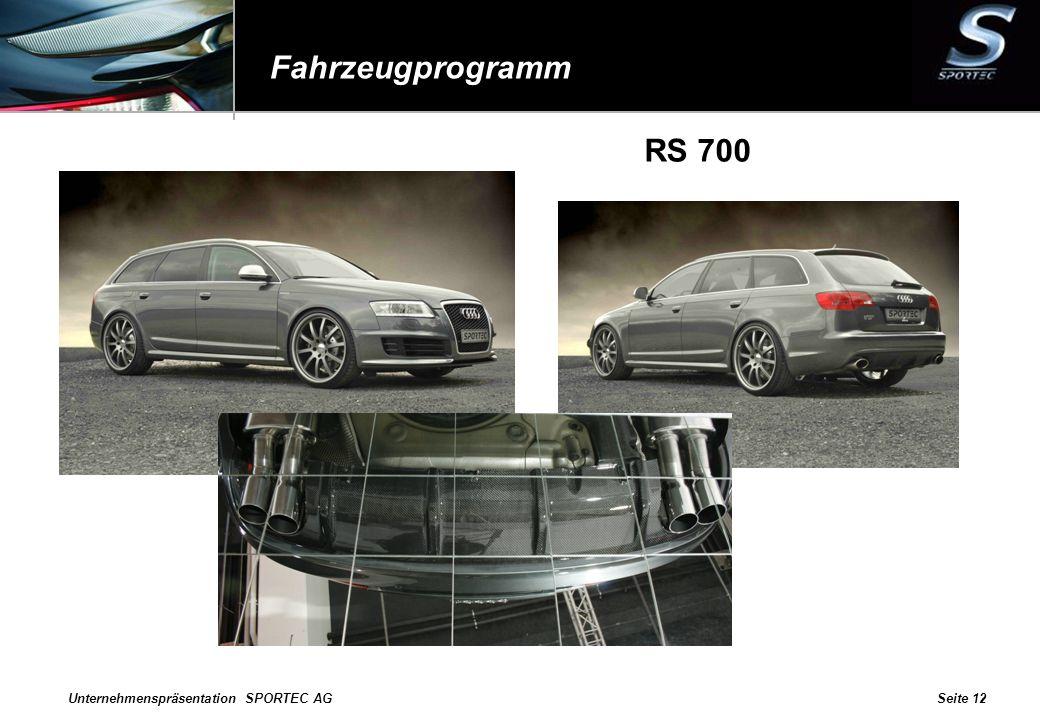 Unternehmenspräsentation SPORTEC AGSeite 12 Fahrzeugprogramm RS 700