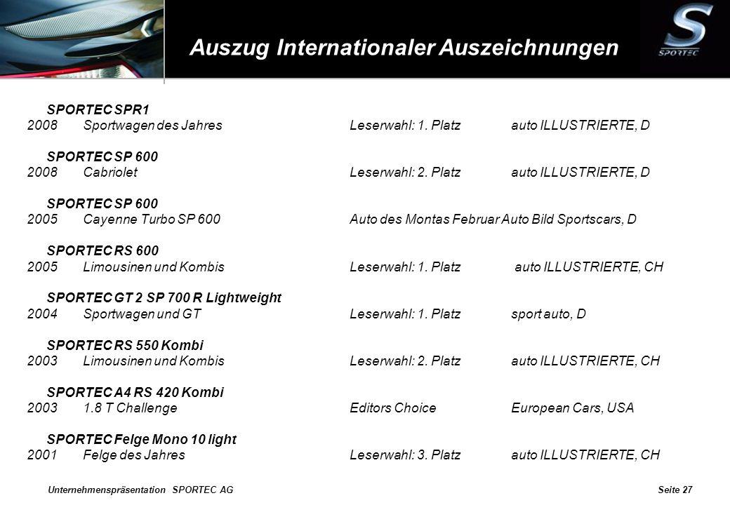 Unternehmenspräsentation SPORTEC AGSeite 27 Auszug Internationaler Auszeichnungen SPORTEC SPR1 2008Sportwagen des JahresLeserwahl: 1. Platzauto ILLUST