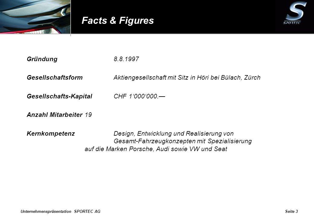 Unternehmenspräsentation SPORTEC AGSeite 3 Facts & Figures Gründung8.8.1997 GesellschaftsformAktiengesellschaft mit Sitz in Höri bei Bülach, Zürch Ges