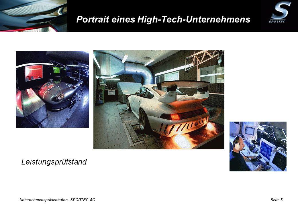Unternehmenspräsentation SPORTEC AGSeite 5 Portrait eines High-Tech-Unternehmens Leistungsprüfstand