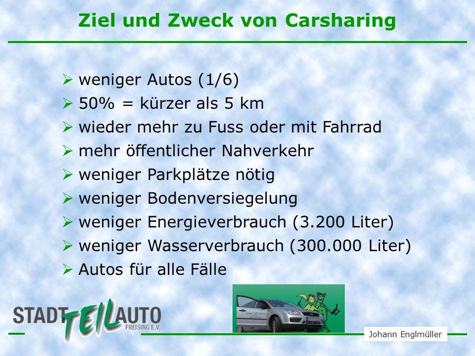 Johann Englmüller Wirkung von CarSharing Ein CarSharer verfügt über die freie Auswahl an Verkehrsmitteln: Beispiel eines CarSharers: vorher ist er 8.000 km mit dem Privatauto gefahren Für jeden Bedarf wählt ein Carsharer das passende Fahrzeug.
