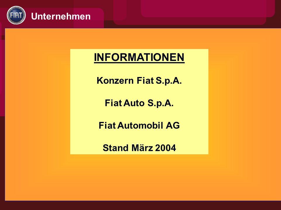 INFORMATIONEN Konzern Fiat S.p.A. Fiat Auto S.p.A. Fiat Automobil AG Stand März 2004 Unternehmen