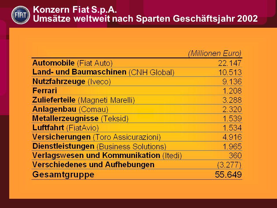 Konzern Fiat S.p.A. Umsätze weltweit nach Sparten Geschäftsjahr 2002