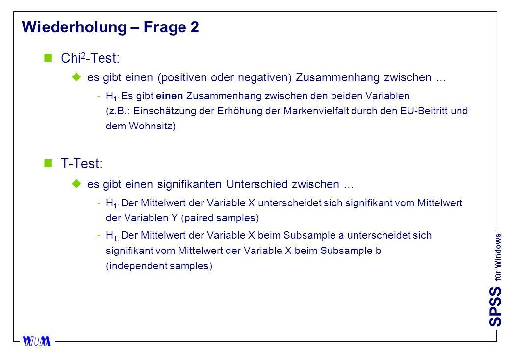 SPSS für Windows Wiederholung – Frage 2 nChi 2 -Test: ues gibt einen (positiven oder negativen) Zusammenhang zwischen... H 1: Es gibt einen Zusammenh
