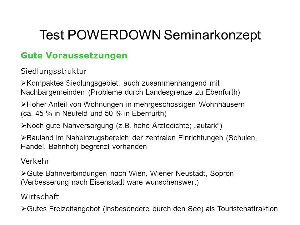Test POWERDOWN Seminarkonzept Gute Voraussetzungen Siedlungsstruktur Kompaktes Siedlungsgebiet, auch zusammenhängend mit Nachbargemeinden (Probleme du