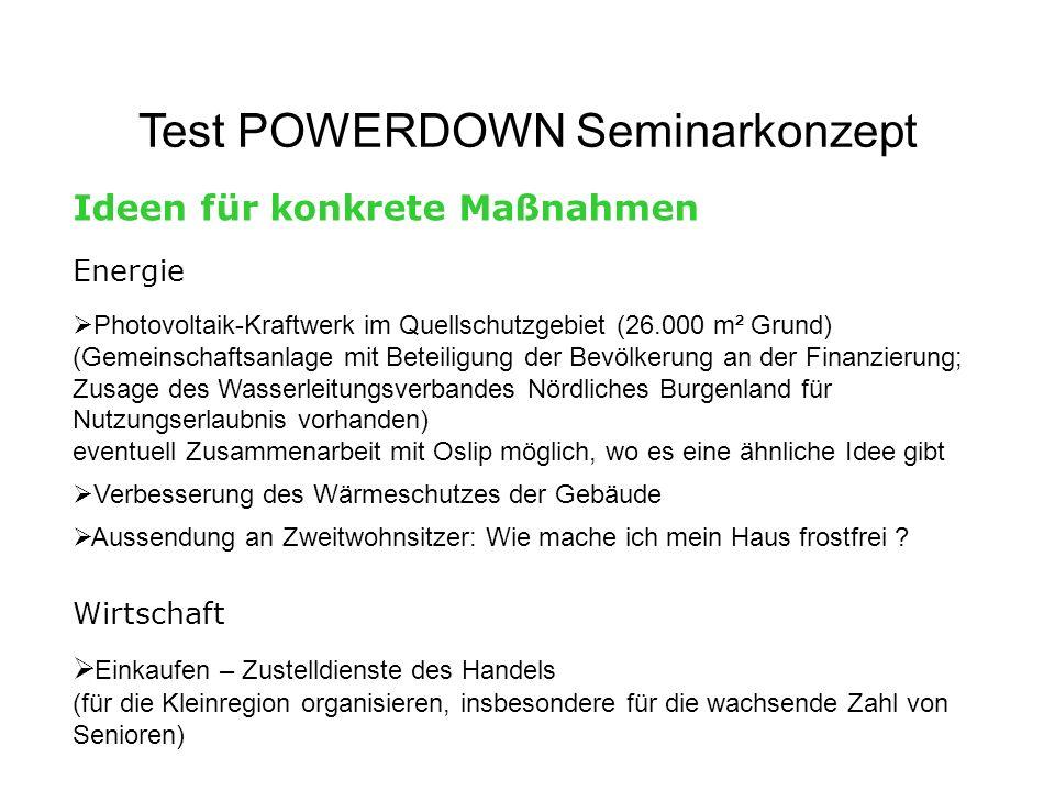 Test POWERDOWN Seminarkonzept Ideen für konkrete Maßnahmen Energie Photovoltaik-Kraftwerk im Quellschutzgebiet (26.000 m² Grund) (Gemeinschaftsanlage