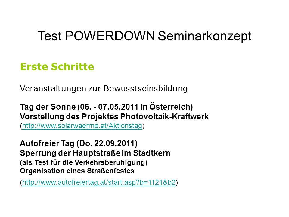 Test POWERDOWN Seminarkonzept Erste Schritte Veranstaltungen zur Bewusstseinsbildung Tag der Sonne (06. - 07.05.2011 in Österreich) Vorstellung des Pr