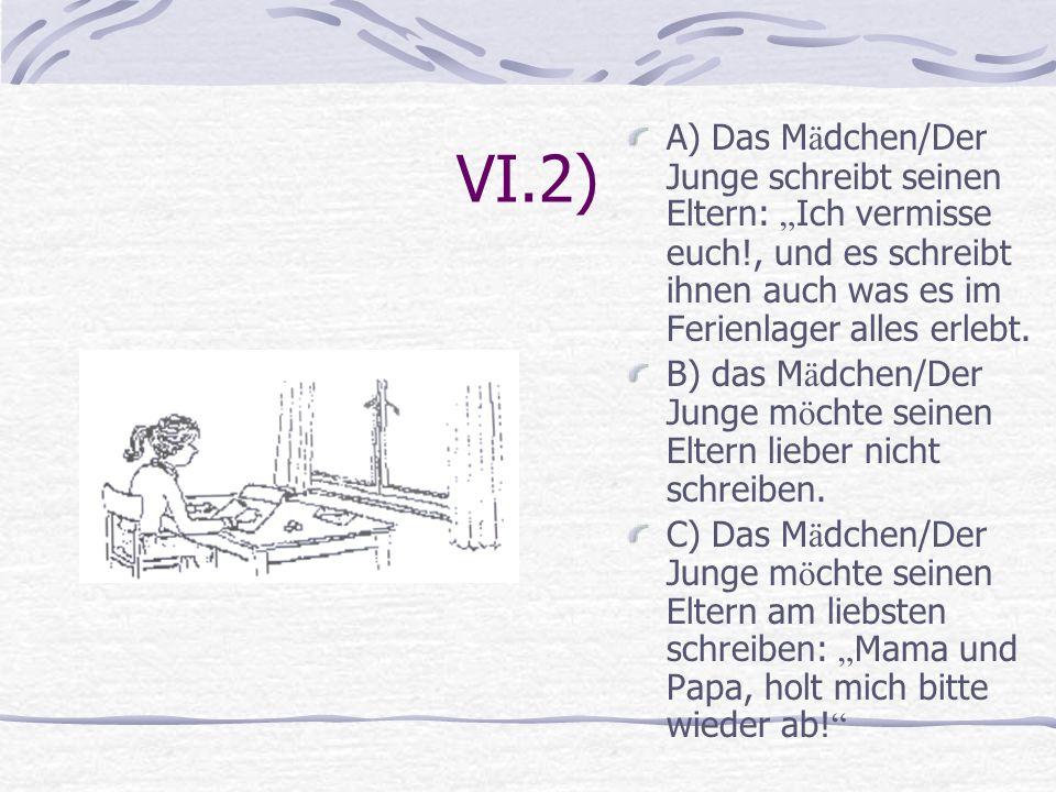 VI.2) A) Das M ä dchen/Der Junge schreibt seinen Eltern: Ich vermisse euch!, und es schreibt ihnen auch was es im Ferienlager alles erlebt. B) das M ä