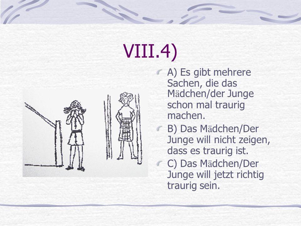 VIII.4) A) Es gibt mehrere Sachen, die das M ä dchen/der Junge schon mal traurig machen. B) Das M ä dchen/Der Junge will nicht zeigen, dass es traurig