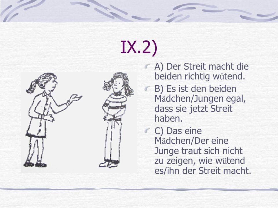 IX.2) A) Der Streit macht die beiden richtig w ü tend. B) Es ist den beiden M ä dchen/Jungen egal, dass sie jetzt Streit haben. C) Das eine M ä dchen/