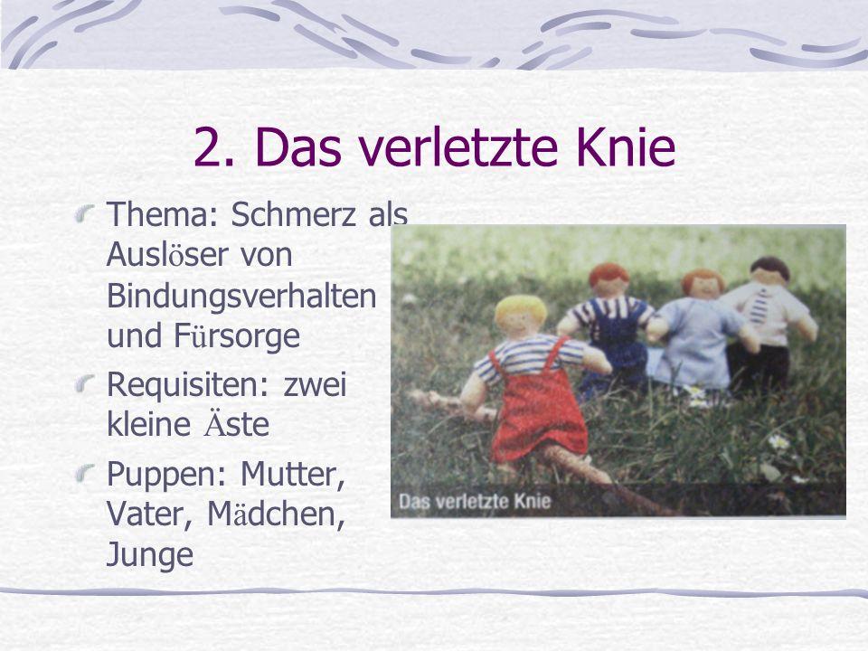 2. Das verletzte Knie Thema: Schmerz als Ausl ö ser von Bindungsverhalten und F ü rsorge Requisiten: zwei kleine Ä ste Puppen: Mutter, Vater, M ä dche