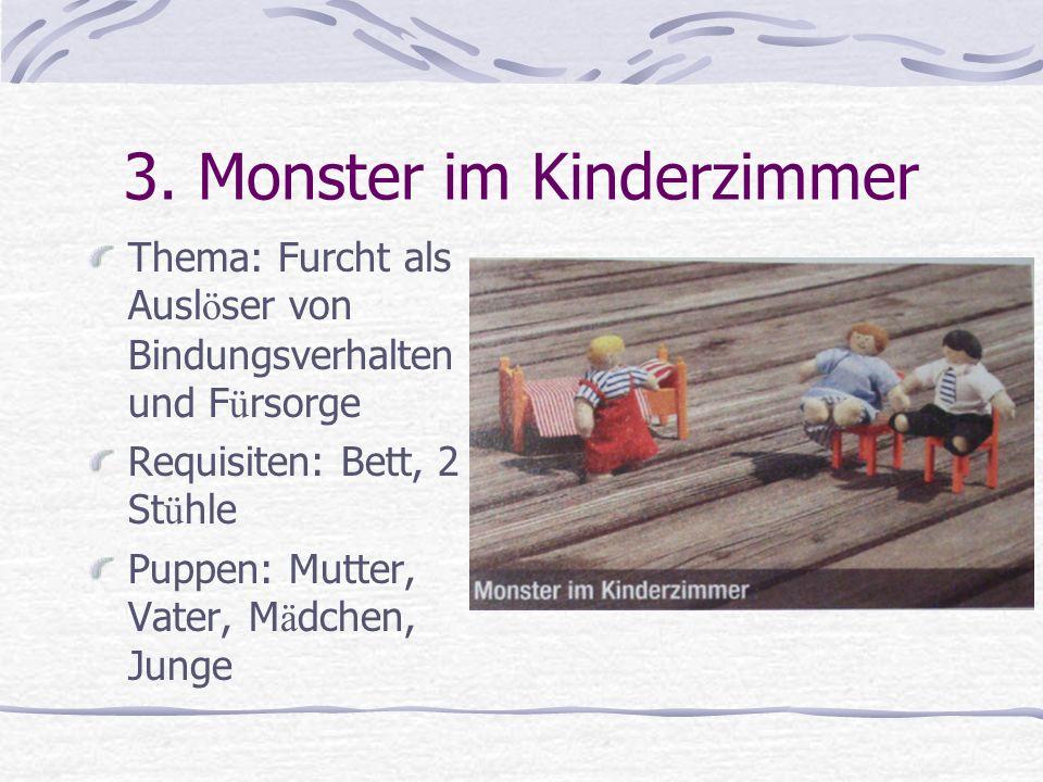 3. Monster im Kinderzimmer Thema: Furcht als Ausl ö ser von Bindungsverhalten und F ü rsorge Requisiten: Bett, 2 St ü hle Puppen: Mutter, Vater, M ä d