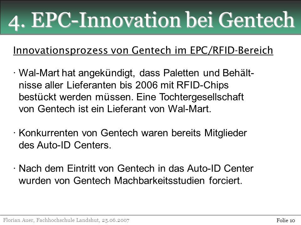 4. EPC-Innovation bei Gentech Florian Auer, Fachhochschule Landshut, 25.06.2007 Folie 10 Innovationsprozess von Gentech im EPC/RFID-Bereich · Wal-Mart