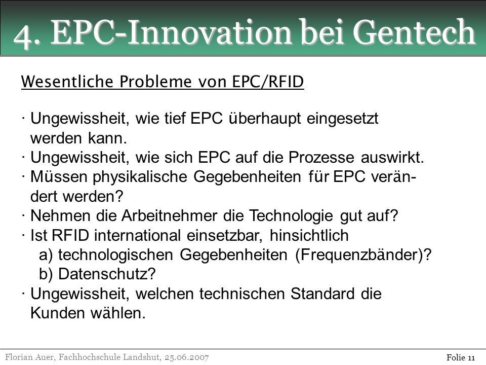 4. EPC-Innovation bei Gentech Florian Auer, Fachhochschule Landshut, 25.06.2007 Folie 11 Wesentliche Probleme von EPC/RFID · Ungewissheit, wie tief EP