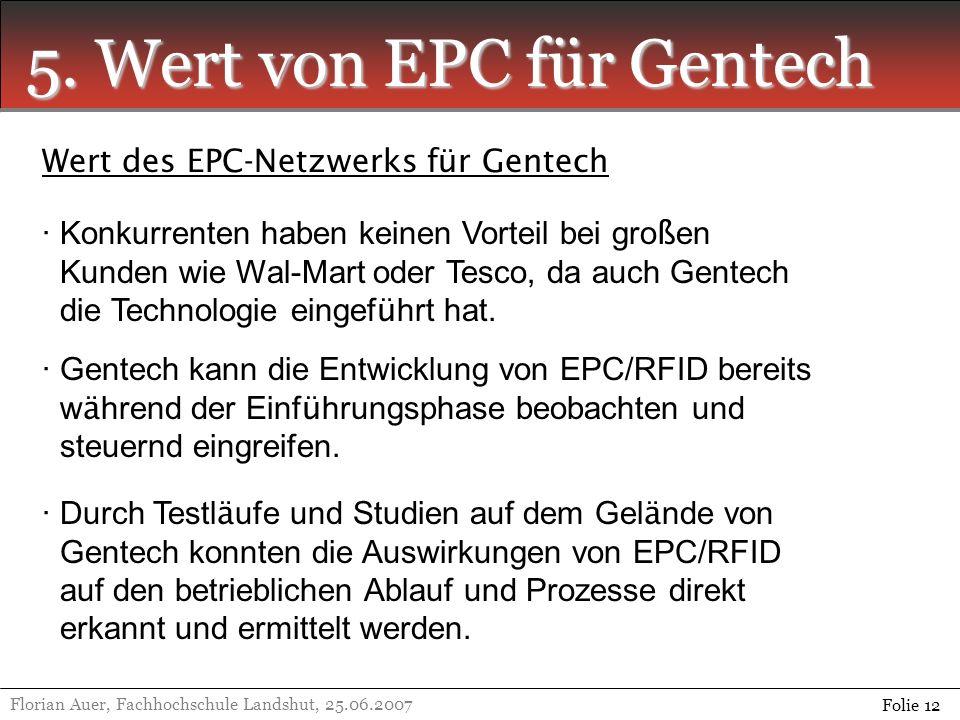 5. Wert von EPC für Gentech Florian Auer, Fachhochschule Landshut, 25.06.2007 Folie 12 Wert des EPC-Netzwerks für Gentech · Konkurrenten haben keinen