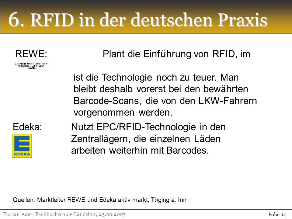 6. RFID in der deutschen Praxis Florian Auer, Fachhochschule Landshut, 25.06.2007 Folie 14 REWE:Plant die Einf ü hrung von RFID, im Moment ist die Tec
