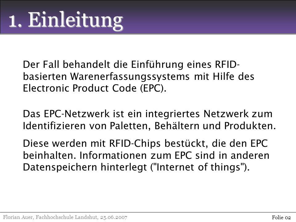 1. Einleitung Florian Auer, Fachhochschule Landshut, 25.06.2007 Folie 02 Der Fall behandelt die Einführung eines RFID- basierten Warenerfassungssystem