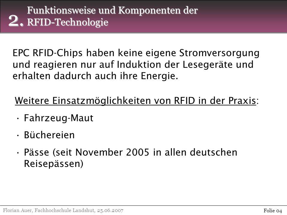 2. Florian Auer, Fachhochschule Landshut, 25.06.2007 Folie 04 Funktionsweise und Komponenten der RFID-Technologie EPC RFID-Chips haben keine eigene St