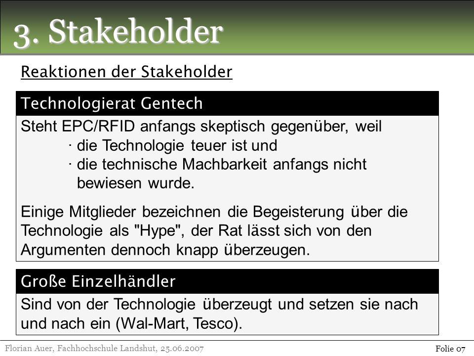 3. Stakeholder Florian Auer, Fachhochschule Landshut, 25.06.2007 Folie 07 Reaktionen der Stakeholder Steht EPC/RFID anfangs skeptisch gegen ü ber, wei