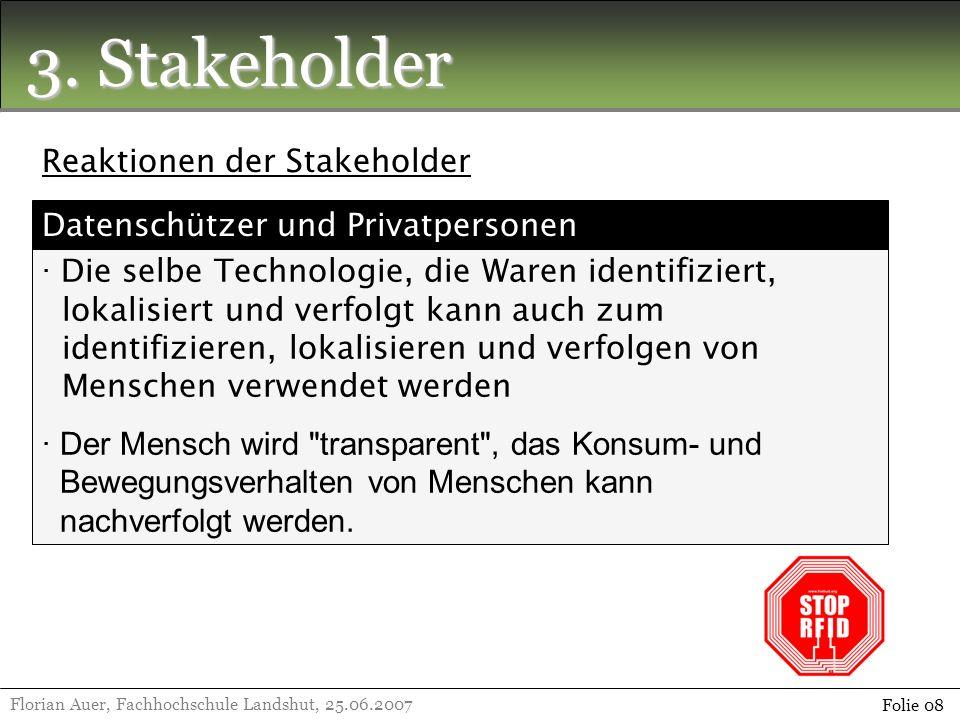 3. Stakeholder Florian Auer, Fachhochschule Landshut, 25.06.2007 Folie 08 Reaktionen der Stakeholder · Die selbe Technologie, die Waren identifiziert,