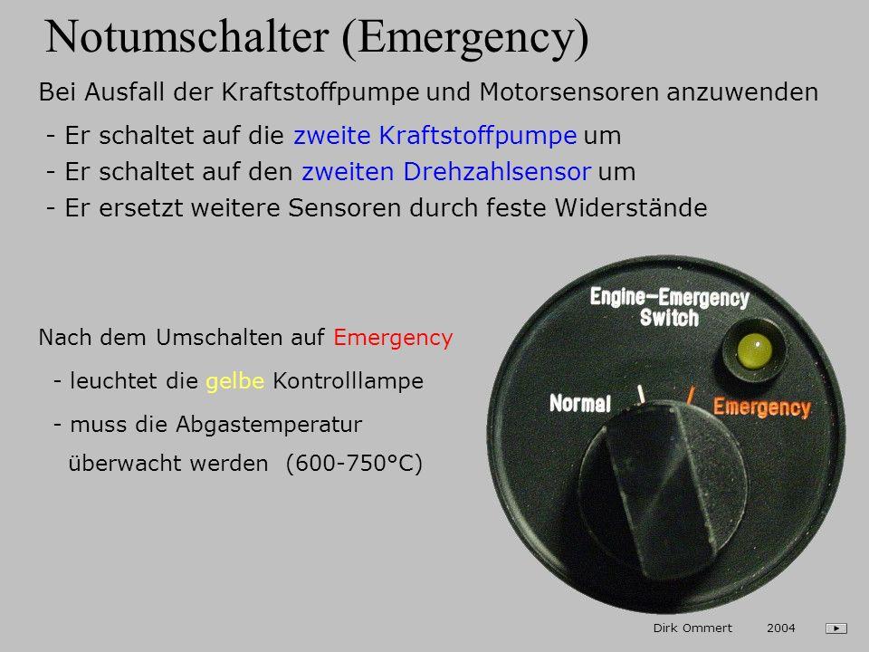Kühlwasser- / Abgastemperatur Max. Temperatur: 980° C (roter Strich) Vorsichtsbereich: 950 - 980° C (gelber Bogen) Betriebsbereich: 400 - 950° C (grün