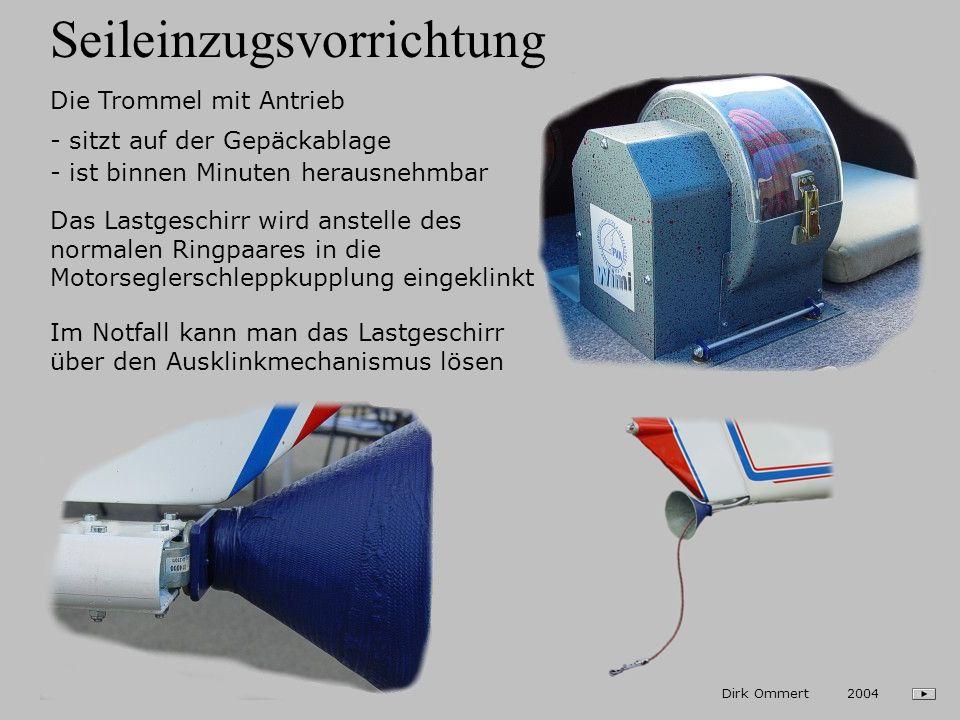 Schleppvorrichtung Dirk Ommert 2004 Der Schleppkupplungsträger ist links an der Rumpfröhre und am Seitenflossenspant befestigt Zum Ein- und Ausklinken des Seiles dient der Zug der ehemaligen Propellerverstellung An der dort befindlichen TOST-Kupplung kann mit einem üblichen Schleppseil geschleppt werden Schleppgeschwindigkeiten: - 90 - 170 km/h Max.